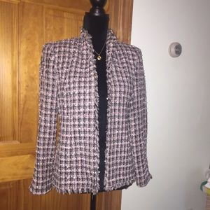 Multi color blazer, pink weave with fringed edges.